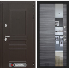 Входная металлическая дверь Лабиринт Мегаполис с Зеркалом Сандал серый горизонтальный