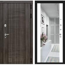 Входная металлическая дверь Лабиринт SCANDI Дарк грей с Зеркалом Максимум Белый софт