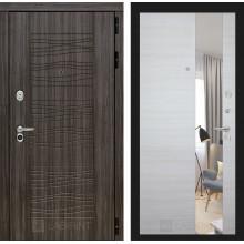 Входная металлическая дверь Лабиринт SCANDI Дарк грей с Зеркалом Акация светлая горизонтальная