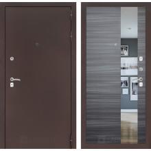 Входная металлическая дверь Лабиринт CLASSIC антик медный с Зеркалом Сандал серый горизонтальный