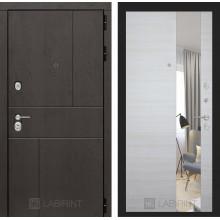 Входная металлическая дверь Лабиринт URBAN с Зеркалом Акация светлая горизонтальная