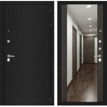 Входная металлическая дверь Лабиринт CLASSIC шагрень черная с Зеркалом Максимум Венге