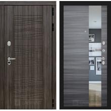 Входная металлическая дверь Лабиринт SCANDI Дарк грей с Зеркалом Сандал серый горизонтальный