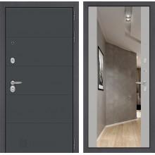 Входная металлическая дверь Лабиринт ART графит с Зеркалом Максимум Грей софт