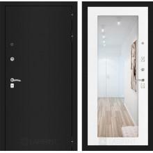 Входная металлическая дверь Лабиринт CLASSIC шагрень черная с Зеркалом 18 Белое дерево