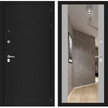 Входная металлическая дверь Лабиринт CLASSIC шагрень черная с Зеркалом Максимум Софт Грей