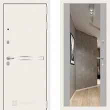 Металлическая дверь Лабиринт Лайн Уайт софт грей с зеркалом Макси