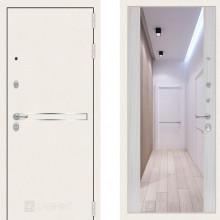 Металлическая дверь Лабиринт Лайн Уайт сандал белый с зеркалом Макси