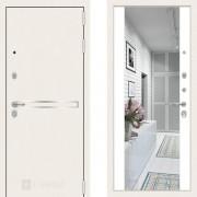 Металлическая дверь Лабиринт Лайн Уайт белый софт с зеркалом Макси