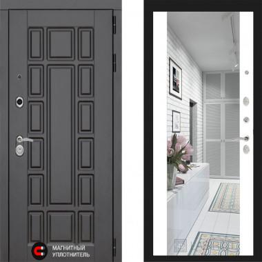 Металлическая дверь Лабиринт Нью Йорк белый софт с зеркалом Макси