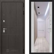 Металлическая дверь Лабиринт Урбан сандал белый с зеркалом Макси