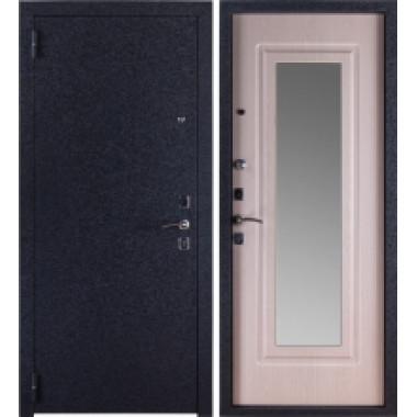 Металлическая дверь Триумф Крокодил Зеркало Беленый Дуб