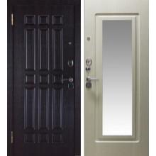 Металлическая дверь Кватро зеркало беленый дуб