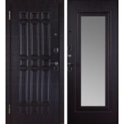 Металлическая дверь Кватро зеркало венге