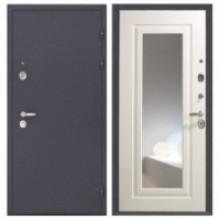 Металлическая дверь с зеркалом Эллада Белый ясень