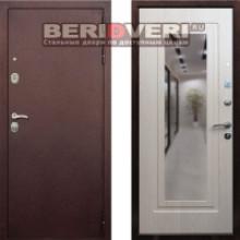 Металлическая дверь REX 5A Зеркало Беленый дуб