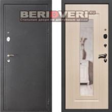 Металлическая дверь REX 2 Зеркало Беленый дуб