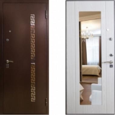 Металлическая дверь СТОП с зеркалом перфо