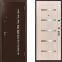Металлическая дверь СТОП со вставками Беленый Дуб