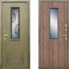 Металлическая дверь Престиж с окном и ковкой