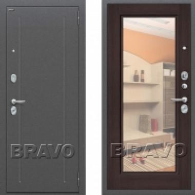 Металлическая дверь Bravo оптим флеш с зеркалом Венге