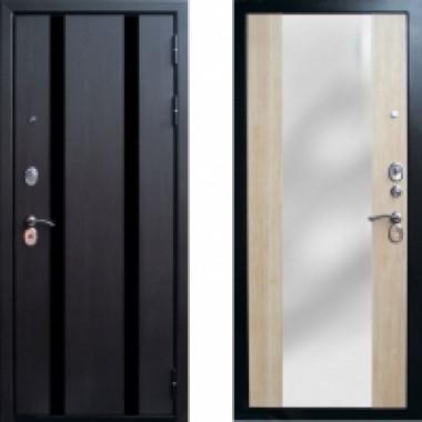 Металлическая дверь Страж Прага Зеркало Беленый дуб