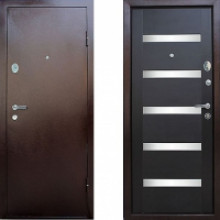 Металлическая дверь СТОП со вставками Венге