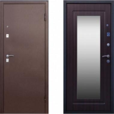 Металлическая дверь СТОП Медь Зеркало Венге