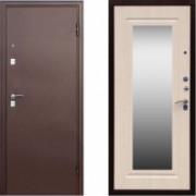 Металлическая дверь СТОП Медь Зеркало Беленый Дуб