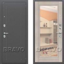 Металлическая дверь Bravo оптим флеш с зеркалом Капучино