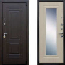 Металлическая дверь Престиж Викинг Беленый Дуб с зеркалом