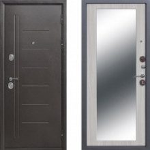 Металлическая дверь Атлант Зеркало Макси Беленый Дуб
