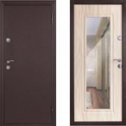 Металлическая входная дверь Континент Элегия с зеркалом беленый дуб