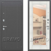 Металлическая входная дверь Bravo оптим флеш с зеркалом Бьянка Вералинго ( входная дверь с зеркалом )