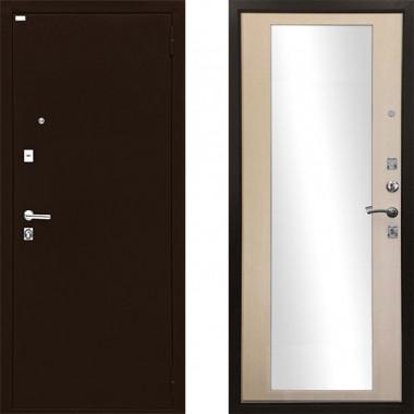 Входная металлическая дверь Ратибор Люкс Зеркало ЭкоДуб