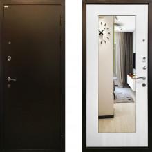 Входная металлическая дверь c зеркалом Ратибор Милан Белый Ясень