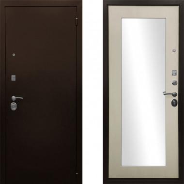 Металлическая входная дверь Ратибор Оптима 3контура с зеркалом Лиственница Беж