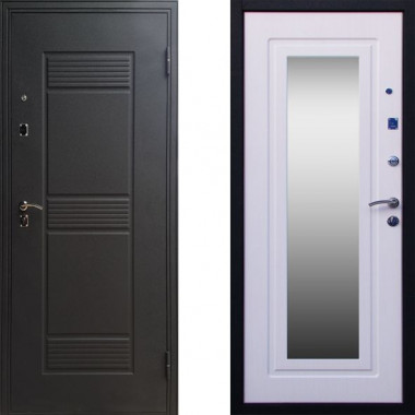 Металлическая входная дверь с зеркалом СТОП Стандарт Беленый Дуб