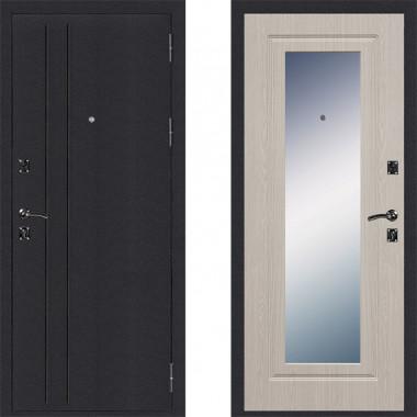 Металлическая входная дверь Страж Классика с зеркалом Беленый дуб