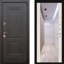 Входная металлическая дверь с зеркалом ЗД Италия беленый дуб