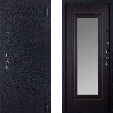 Входная металлическая дверь с зеркалом Триумф Крокодил Венге